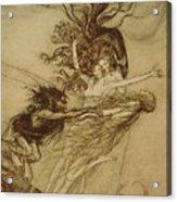 The Rhinemaidens Teasing Alberich Acrylic Print by Arthur Rackham