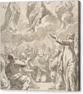 The Risen Christ Between The Virgin And St. Joseph Appearing To St. Peter And Other Apostles Acrylic Print