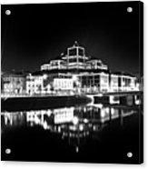 The River Liffey Reflections 2 Bw Acrylic Print