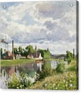 The River Oise Near Pontoise Acrylic Print by Camille Pissarro