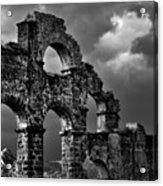 The Roman Aqueduct At Aspendos, Turkey.    Black And White Acrylic Print
