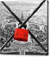 The Romantically Love Inscribed Padlocks On The Eiffel Tower, Pa Acrylic Print