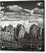 The Rugged Red Rocks In Black And White  Acrylic Print