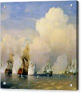 The Russo Swedish Sea War Near Kronstadt In 1790  Acrylic Print by Aleksei Petrovich Bogolyubov