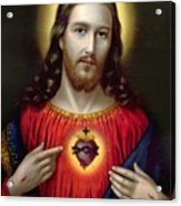 The Sacred Heart Of Jesus Acrylic Print by English School