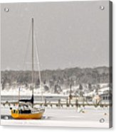 The Sailboat Korovin Is Moored In A Mostly Frozen Stage Harbor I Acrylic Print