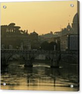 The Sant Angelo Bridge And The Papal Basilica Of Saint Peter At Sunset In Vatican City Acrylic Print