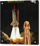 The Scream World Tour Space Shuttle Happy Birthday Acrylic Print by Eric Kempson