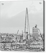 The Shard Outline Poster Bw Acrylic Print