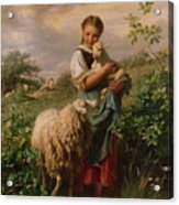 The Shepherdess Acrylic Print by Johann Baptist Hofner
