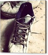 The Shoes He Left Behind Acrylic Print by Dana Coplin