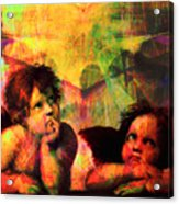 The Sistine Modonna Baby Angels In Abstract Space 20150622 Square Acrylic Print