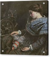 The Sleeping Embroiderer Acrylic Print by Gustave Courbet