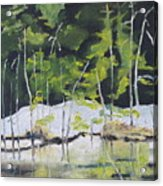 The Snow By The Pond Acrylic Print