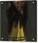 The Spanish Shawl - Portrait Of Jeanne Frankenberg Acrylic Print