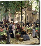 The Square In Front Of Les Halles Acrylic Print by Victor Gabriel Gilbert