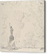 The Statue, New York Bay Acrylic Print