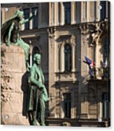 The Statue Of France Preseren And His Muse Acrylic Print