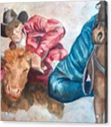 The Steer Wrestler Acrylic Print