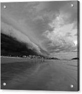 The Storm Rolling In To Good Harbor Beach Gloucester Ma Black And White Acrylic Print