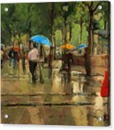 The Streets Of Paris In The Rain Acrylic Print
