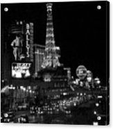 The Strip By Night B-w Acrylic Print