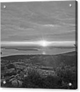 The Sunrise From Cadillac Mountain In Acadia National Park Black And White Acrylic Print