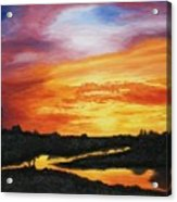The Sun's Last Kiss On The Hill Country Acrylic Print