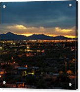 The Sunset From Popago Park Phoenix Arizona Az Golden Acrylic Print