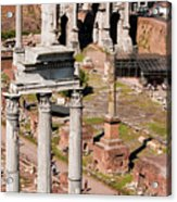 The Temple Of Castor And Pollux At The Forum From The Palatine Acrylic Print