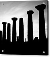 The Temple Of Hercules. Agrigento, Sicily.    Black And White Acrylic Print