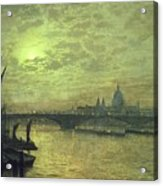 The Thames By Moonlight With Southwark Bridge Acrylic Print