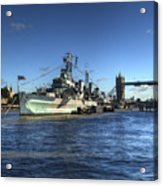 The Tower Hms Belfast And Tower Bridge Acrylic Print
