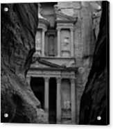The Treasury - Petra Acrylic Print by Peter Dorrell
