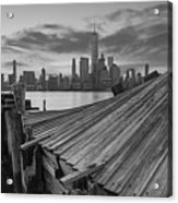 The Twisted Pier Panorama Bw Acrylic Print