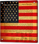 The United States Declaration Of Independence - American Flag - Square Acrylic Print