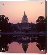 The U.s. Capitol Building Reflected Acrylic Print by Kenneth Garrett