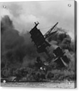 The Uss Arizona Bb-39 Burning After The Japanese Attack On Pearl Harbor Acrylic Print