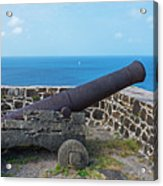 The View From Fort Rodney On Pigeon Island Gros Islet Saint Lucia Cannon Acrylic Print