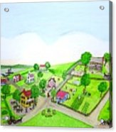 The Village - Colonial Style Art Acrylic Print