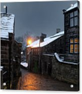 The Village Of Heptonstall In The Snow At Night With Lamps Shini Acrylic Print