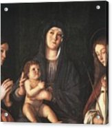 The Virgin And Child With Two Saints Prado Giovanni Bellini Acrylic Print