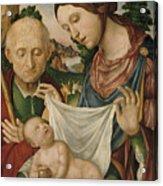 The Virgin And Saint Joseph  Adoring The Christ Child Acrylic Print