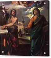 The Virgin Appearing To Saints John The Baptist And John The Evangelist 1520 Acrylic Print