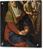 The Virgin In Prayer At The Foot Of The Cross, With Crying Angels Acrylic Print