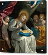 The Virgin Sewing Accompanied By Four Angels. La Couseuse Acrylic Print