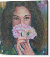 The Vision Romantic Figurative Floral Pastel Painting Acrylic Print