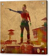 The Walking Dead Watercolor Portrait On Worn Distressed Canvas No 1 Acrylic Print