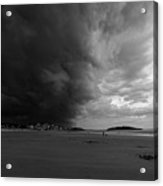 The Wall Of The Storm Good Harbor Beach Gloucester Ma Black And White Acrylic Print