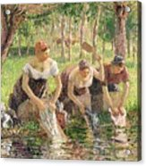 The Washerwomen Acrylic Print by Camille Pissarro